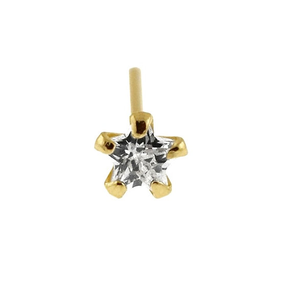 Solid 9K Yellow Gold Star Diamond Straight Bendable Nose Piercing Stud