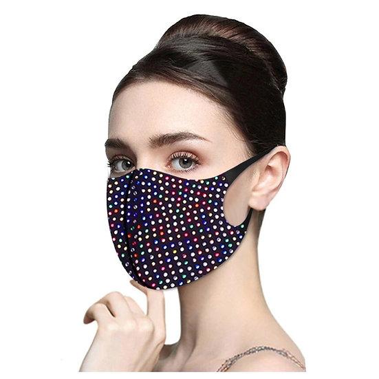 Multi Colour Crystal Decorative Face Mask Model