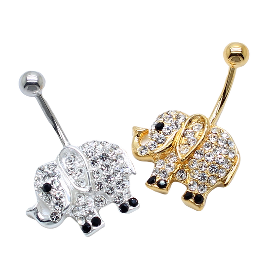 Yellow Gold / Sterling Silver Elephant Navel Belly Ring