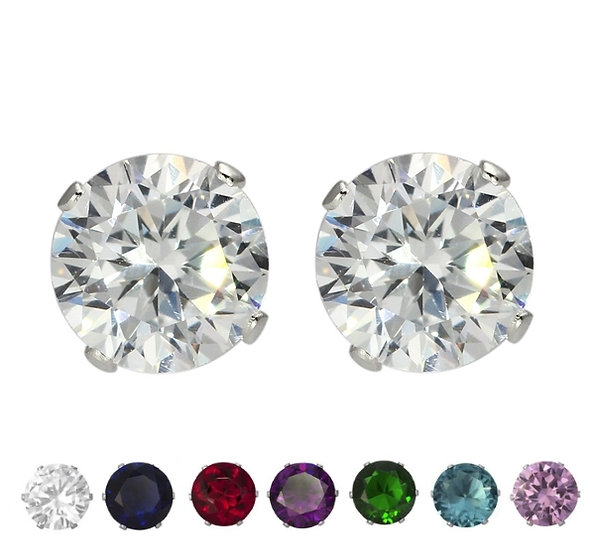 8mm Sterling Silver Coloured Cubic Zirconia Stud Earrings