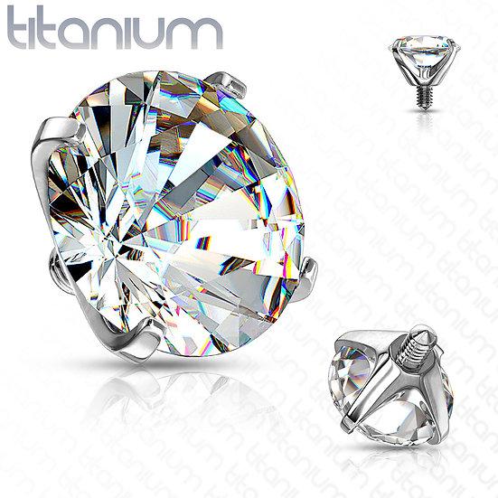 Round Diamond Dermal Piercing Implant Top