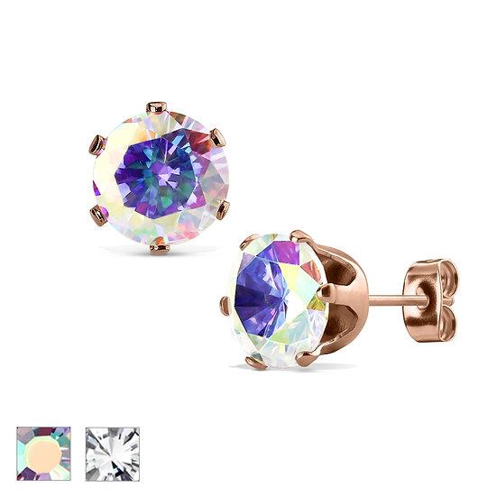 Diamond Rose Gold Stud Earrings