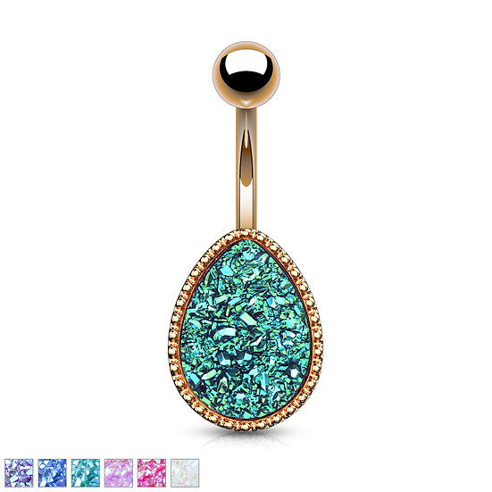 ROSE GOLD DRUZY STONE BELLY NAVEL RING