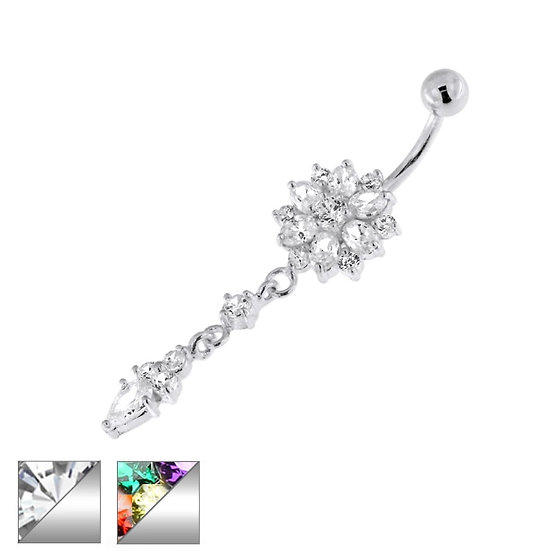 STERLING SILVER DAHLIA FLOWER BELLY RING