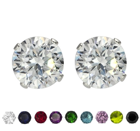 Sterling Silver Coloured Round Cubic Zirconia Stud Earrings
