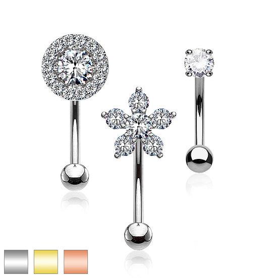 Halo, Flower & Round Diamond Eyebrow Bar Barbell Ring 3pc Set