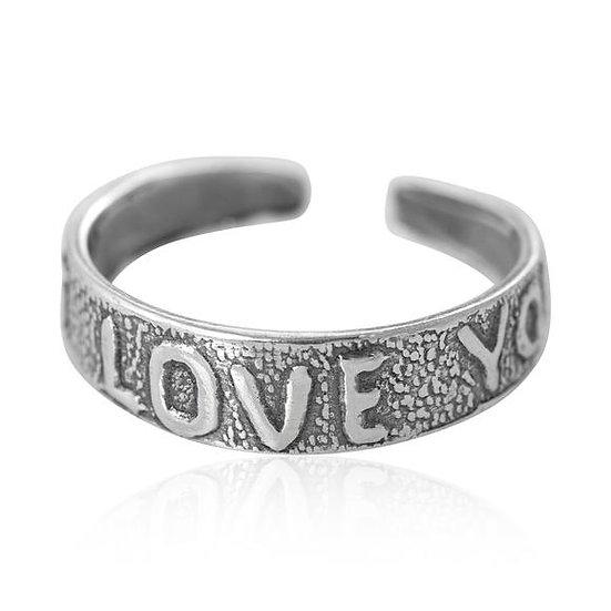 I love you toe midi ring