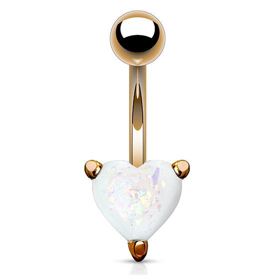 14K ROSE GOLD HEART GLITTER OPAL BELLY NAVEL RING