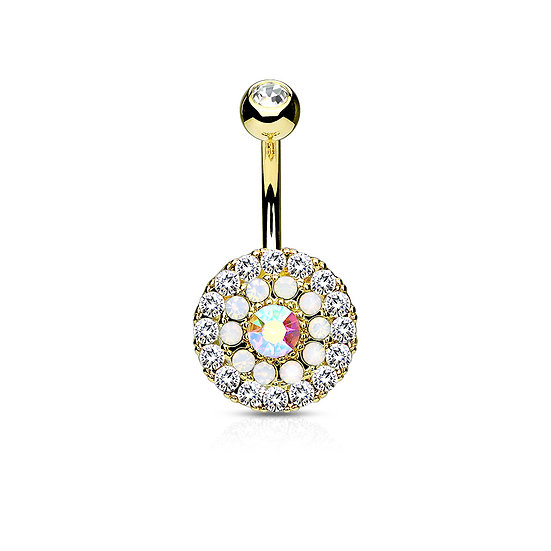 14K YELLOW GOLD IP CLUSTER BELLY BUTTON NAVEL BAR RING