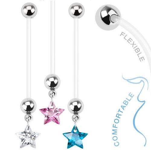 CUBIC ZIRCONIA STAR FLEXIBLE PREGNANCY BAR BELLY RING
