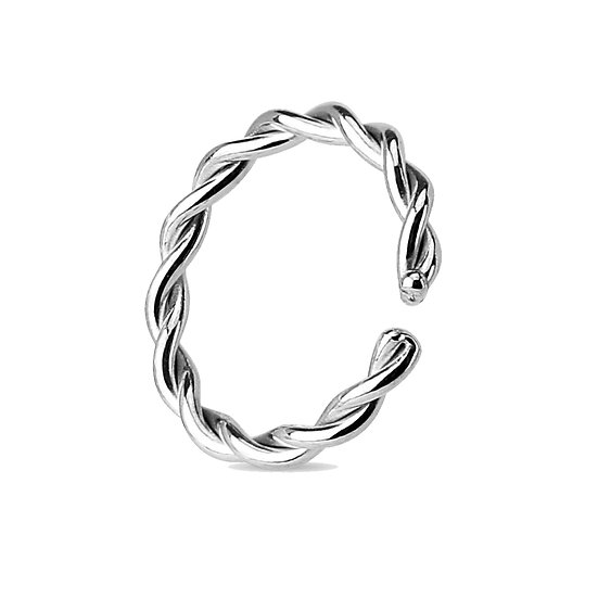18G 10MM SILVER BRAIDED ANNEALED BENDABLE HOOP EAR SEPTUM RING