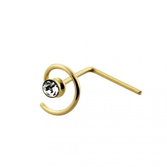 9K SOLID YELLOW GOLD SWIRL COIL L SHAPED BEND BENT NOSE PIN STUD