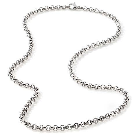 SILVER STAINLESS STEEL 4MM ROLO CHAIN NECKLACE
