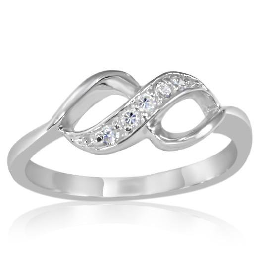STERLING SILVER SIMULATED DIAMOND INFINITY RING