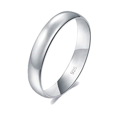 Solid Sterling Silver 5mm Plain Mens Womens Wedding Band Ring