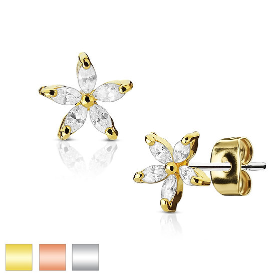 Daisy Flower Diamond Petal Stud Earrings