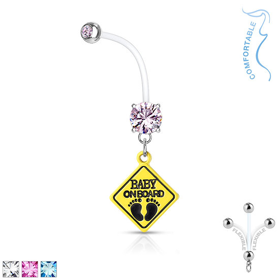 Jewelled Baby on Board Flexible Pregnancy Bar Belly Ring