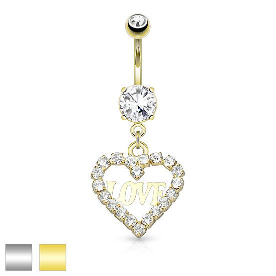 Love Heart Diamond Dangle Belly Ring