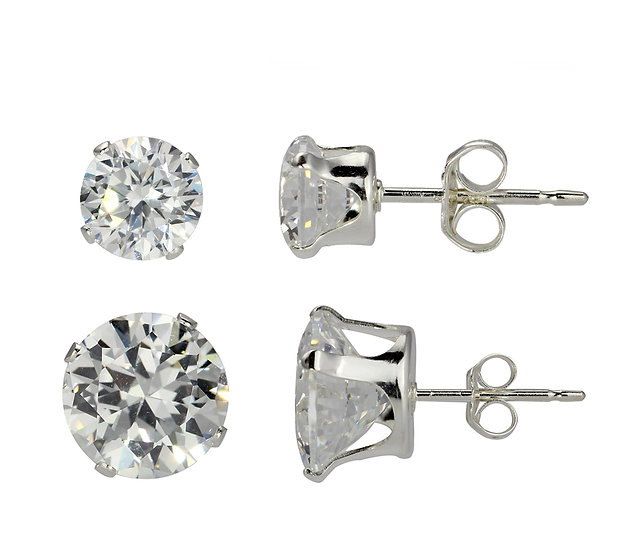 Sterling Silver 8mm & 5mm Diamond Stud Earrings