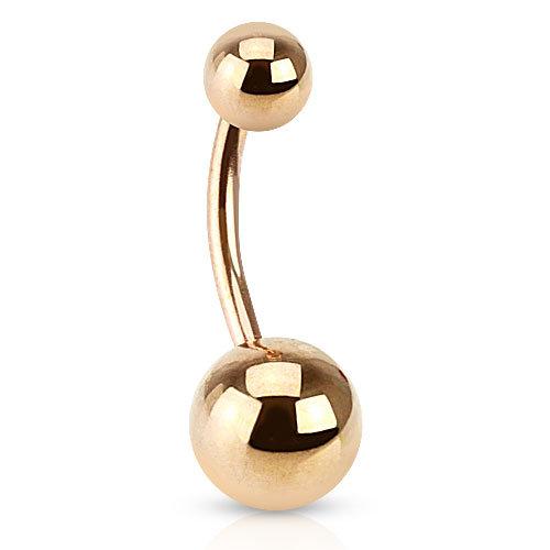 Rose Gold Plain Ball Belly Navel Ring