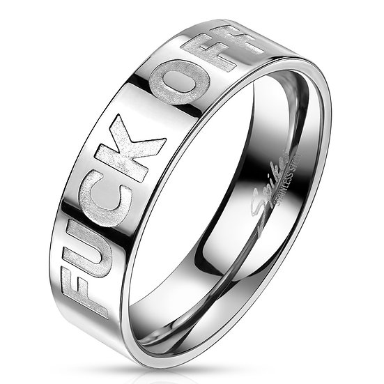 F*ck Off Silver Stainless Steel Ring