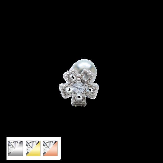 Diamond Flower Helix Tragus Body Stud Earring
