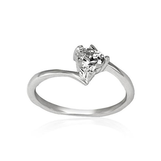 Love Heart Diamond 925 Sterling Silver Ring