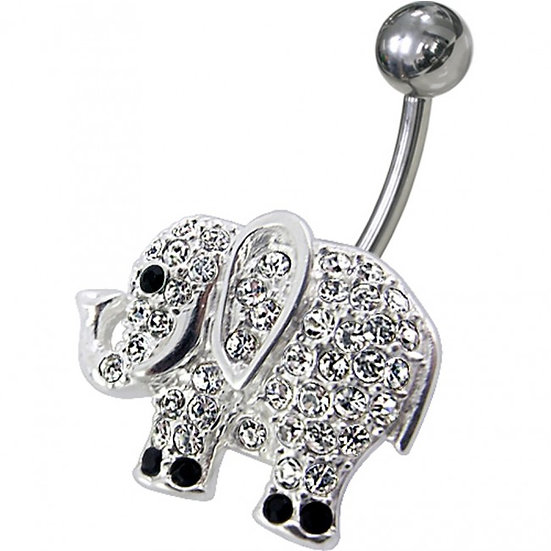 Sterling Silver Elephant Navel Belly Ring