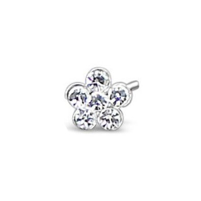 Sterling Silver Crystal Daisy Flower Nose Piercing L Shaped Bend Bent Stud