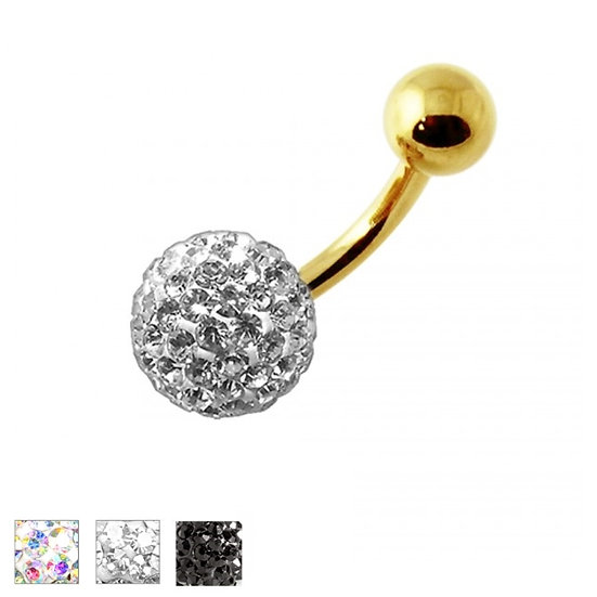 CRYSTAL BALL GOLD BELLY BUTTON NAVEL RING