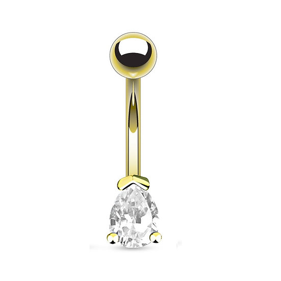 DIAMOND PEAR GOLD BELLY BUTTON NAVEL RING