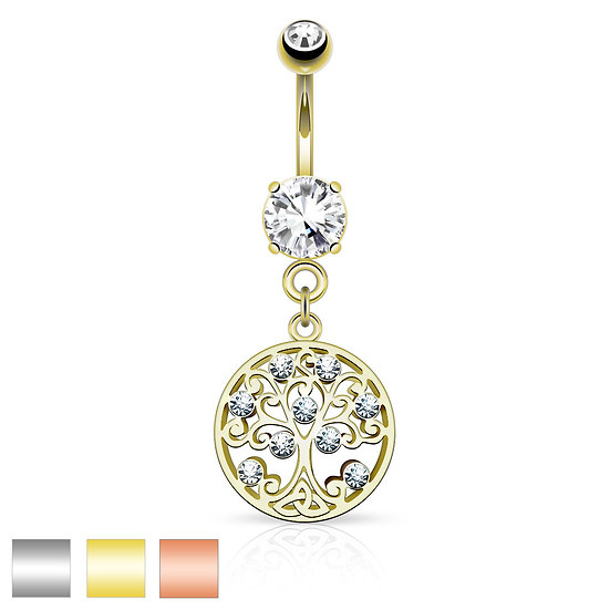 ROUND FAMILY TREE OF LIFE  BELLY BUTTON NAVEL RING -ROSE GOLD