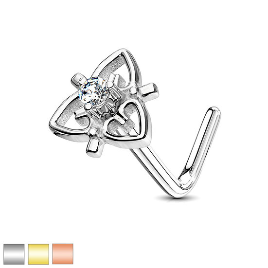 Triple Heart Nose Piercing Bone Stud