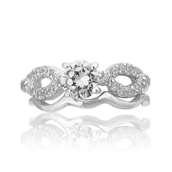 Solid Sterling Silver Diamond Engagement & Wedding Band Ring Set