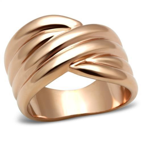 18CT ROSE GOLD IP QUAD LAYER BAND LADIES WOMENS RING