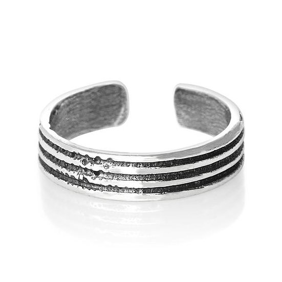 925 Sterling Silver Groove Toe Midi Ring