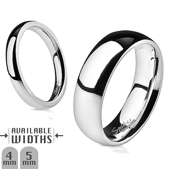 Glossy Mirror Polished Silver Stainless Steel Wedding Band Ring