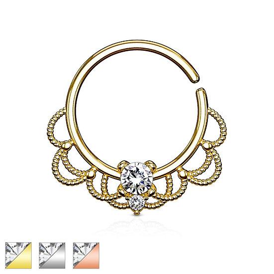 PLATINUM DIAMOND FILIGREE LOOP HOOP EAR SEPTUM SEAMLESS RING