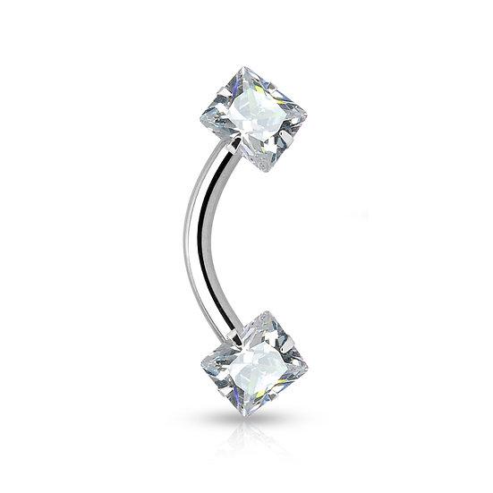 SQUARE 2MM DIAMOND 8MM BAR EYEBROW SILVER RING