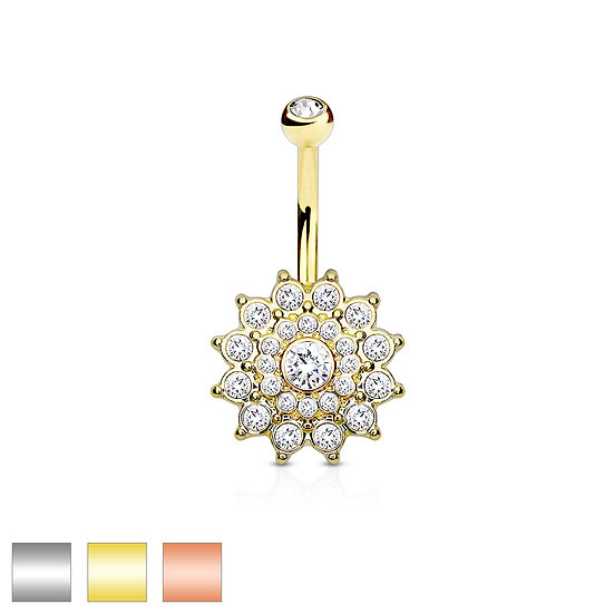SIMULATED DIAMOND DAHLIA FLOWER CLUSTER BELLY NAVEL RING