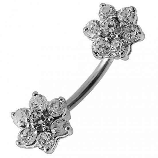 STERLING SILVER TWIN FLOWER CUBIC ZIRCONIA BELLY NAVEL RING