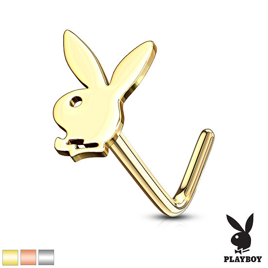 YELLOW GOLD PLAYBOY BUNNY NOSE PIERCING L SHAPED STUD