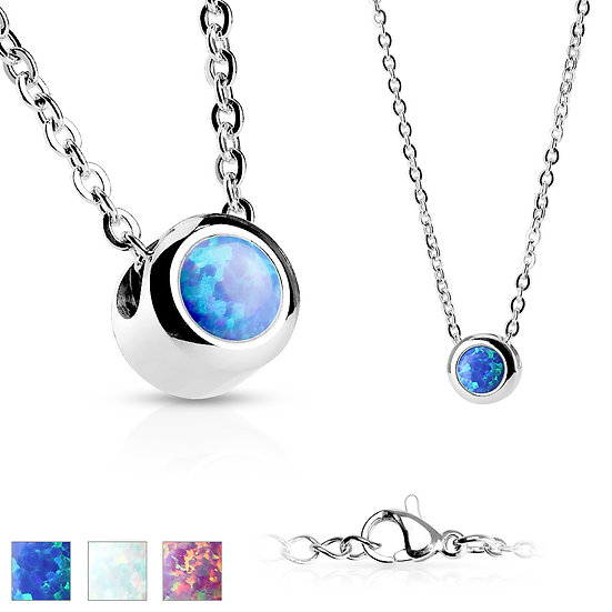 SILVER COLOURED OPAL PENDANT NECKLACE