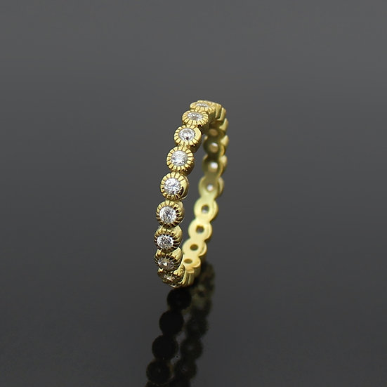 Diamond Yellow Gold Dot Eternity Band Ladies Womens Ring