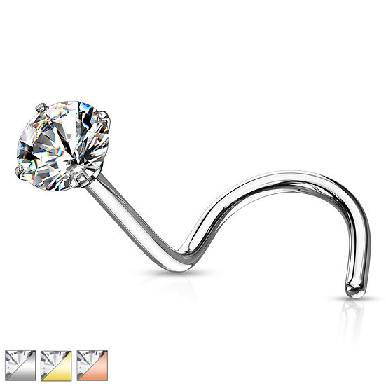 Diamond Nose Piercing Screw Stud