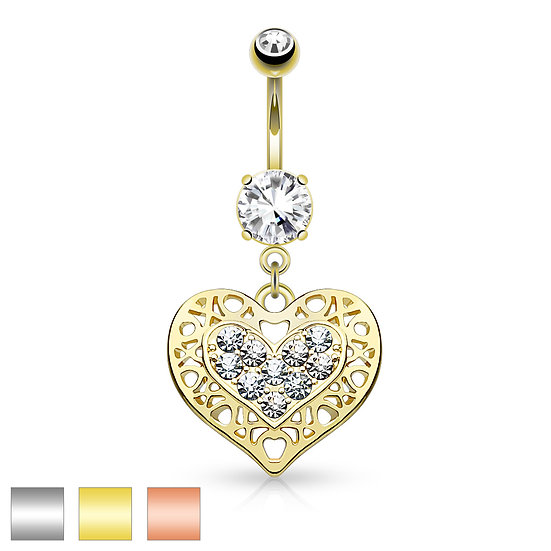 YELLOW GOLD FILIGREE LOVE HEART DANGLE BELLY BUTTON NAVEL RING