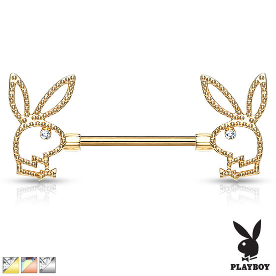 PLAYBOY BUNNY HEAD ® NIPPLE BAR BARBELL RING