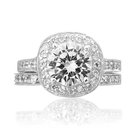 Sterling Silver Halo Diamond Engagement & Wedding Band Ring Set