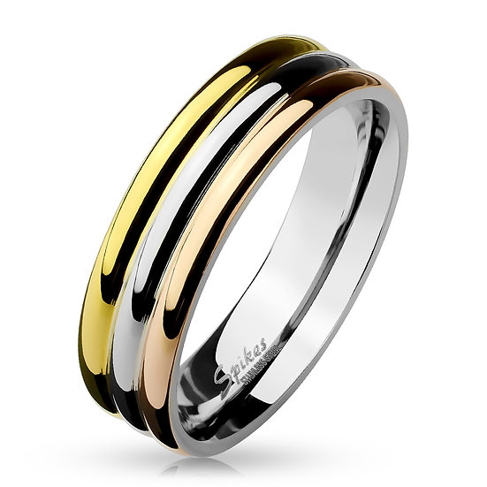 THREE TONE TRIPLE DOME YELLOW ROSE WHITE GOLD IP BAND RING
