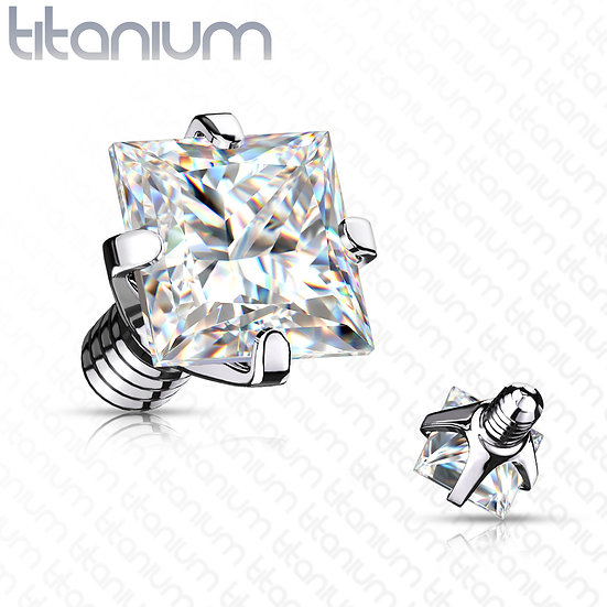 Square Diamond Dermal Piercing Implant Top